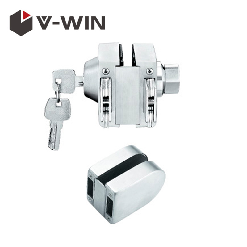 SS304 Double Side Open Commercial Sliding Glass Round Door Lock VW-GDL-528B