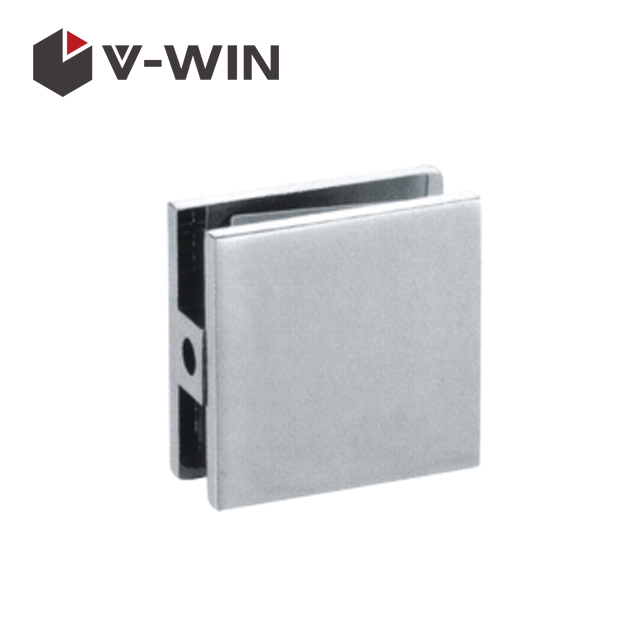 Single hole square shower door glass bracket